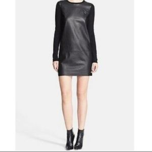 VINCE Black leather and wool panel dress. Size M.